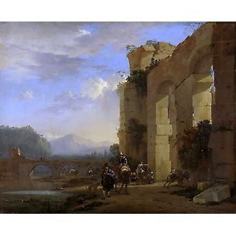 Italienische Landschaft mit den Ruinen eines Römers, Jan Asselijn, 50x40cm