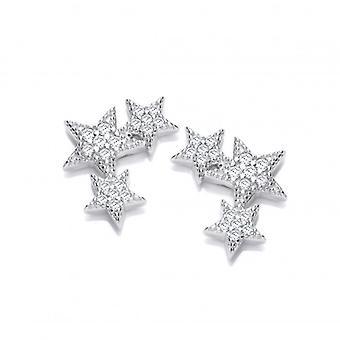 Orecchini della CZ di stelle cadenti e argento francese Cavendish