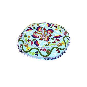 Embroidered Suzani Round Padded Floor Cushion.
