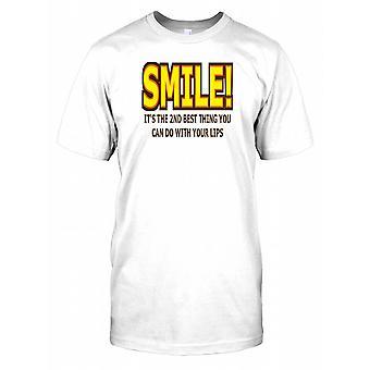Smil! Det er den nest beste tingen du kan gjøre med Lips - morsom vits Mens T-skjorte