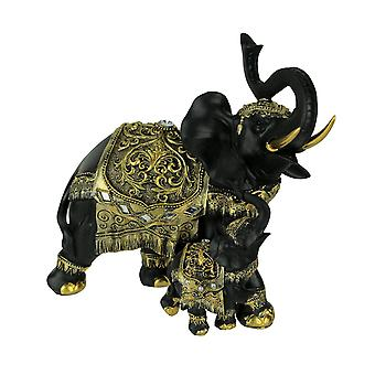 Black and Gold Decorated Trunk Up Walking Elehpant and Calf Statue