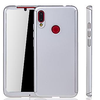 Xiaomi Redmi opmerking 7 telefoon geval bescherming geval volledige dekking tank bescherming glas zilver