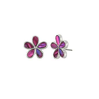 Eternal Collection Delphine Pink Paua Shell Silver Tone Stud Pierced Earrings