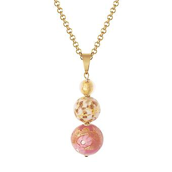 Eternal Collection Tuscany Rose Pink And Gold Venetian Murano Glass Pendant