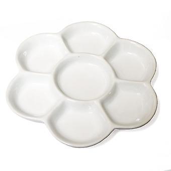 Porcelaine 7 Daisy bien en forme de Palette de mélange de peintures
