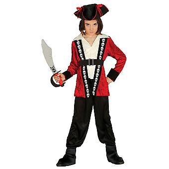 Boys Red Caribbean Pirate Fancy Dress Costume
