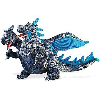 Hand Puppet - Folkmanis - Dragon Blue Three-Headed New Soft Doll Plush 2387