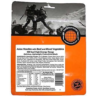 Expedition Foods musta Aasian nuudelit naudan lihaa ja Sekalaista vihanneksia