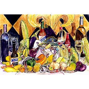 Crystal Hot Sauce with Fleur De lis and Wine Fabric Placemat