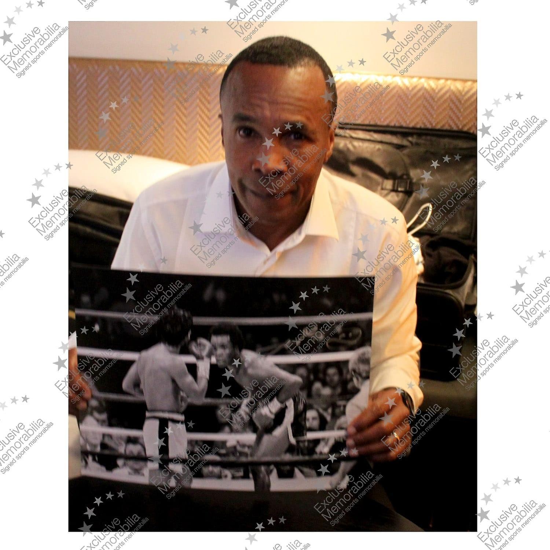 Sugar Ray Leonard Signed Boxing Photograph: Fighting Roberto Duran