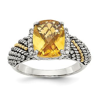 925 Sterling Silver With 14k Diamond and Citrine Ring Jewelry Gifts for Women - Ring Size: 6 to 8