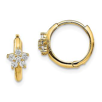 14k Yellow Gold Polished Madi K CZ Cubic Zirconia Simulated Diamond for boys or girls Flower Hinged Hoop Earrings Measur