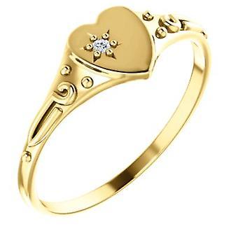 14k or jaune pour garçons ou filles coeur avec bague en diamant - taille 6