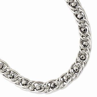 Silber Ton Fancy Hummer Verschluss Hämatit Glas und Acryl Perlen 17 Zoll Halskette Schmuck Geschenke für Frauen
