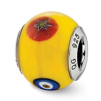 925 Sterling Silver finish Italian Murano Glass Reflections Italian Yellow With Decorative Accents Glass Bead Charm Pend