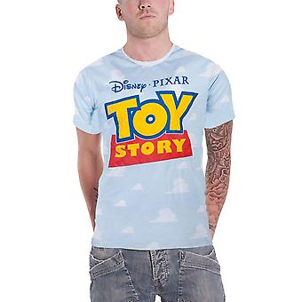Toy Story T Shirt All Over Cloud Movie Logo new Official Disney Pixar Mens Blue