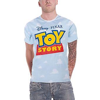 Toy Story T-shirt över hela Cloud Movie logo nya officiella Disney Pixar mens blå