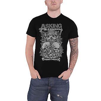 Asking Alexandria T Shirt teschio Stack Band Logo nuovo ufficiale Mens Black