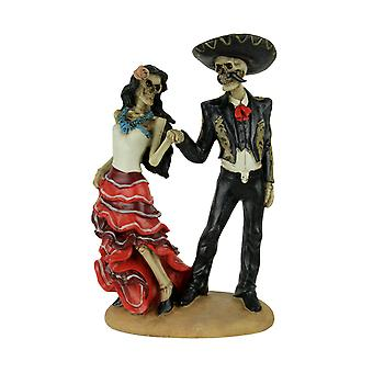 Dancing Skeletons Mariachi Man and Woman Statue