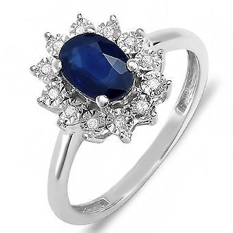 Dazzlingrock Collection Kate Middleton Diana Inspired 18K Diamond & Blue Sapphire Royal Bridal Ring, White Gold, Size 7.5