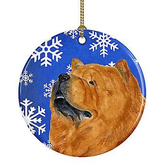 Chow Chow invierno los copos de nieve vacaciones Navidad adorno cerámica SS4640