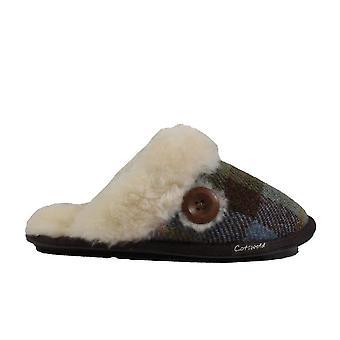Cotswold Syerford Navy tartan wol Womens slip op mule slippers