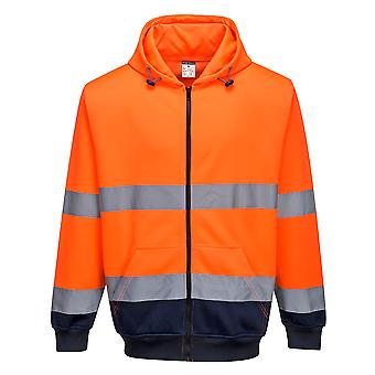Portwest - Two Tone Hi-Vis Safety Workwear Zip Front Hoodie
