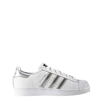 Adidas - superstar women's sneakers, white + grey