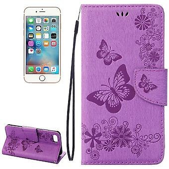 For iPhone 8,7 Wallet Case,Elegant Butterflies Embossed Leather Cover,Purple