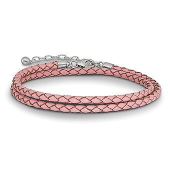 925 Sterling Silber Reflexionen rosa Leder mit 2in Ext Halsband Wrap Armband Schmuck Geschenke für Frauen