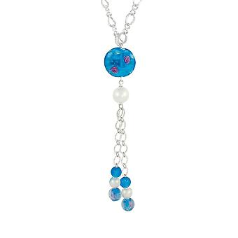 Eternal Collection Chiara Turquoise Murano Glass Long Silver Tone Statement Necklace
