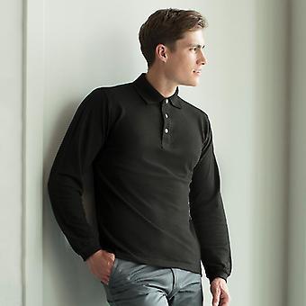 Henbury manga comprida camisa pólo de algodão hb105