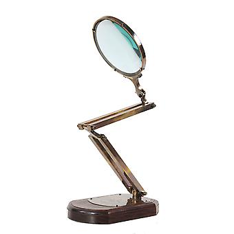 """7.5"""" x 14.5"""" x 28"""" Brass Big Magnifier Glass With Wooden Base"""
