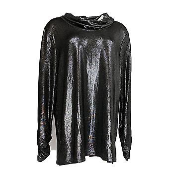 Susan Graver Women's Top Metallic Knit Cowl-Neck Tunic Black A345898