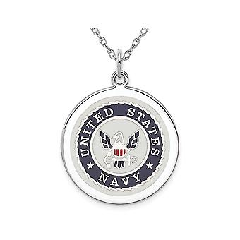 U.S. Navy Pendant Necklace Disc in Sterling Silver with Chain