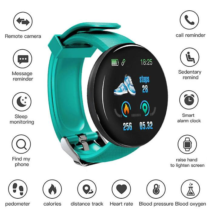 Stuff Certified® Original D18 Smartwatch Curved HD Smartphone Fitness Sport Activity Tracker Watch iOS Android iPhone Samsung Huawei Green