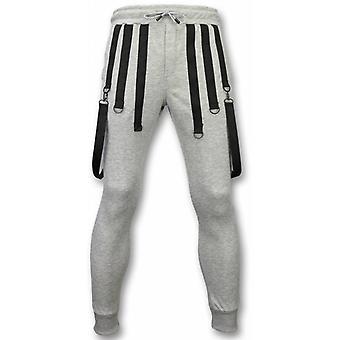 Casual Sweatpants-Basic Braces-Grey