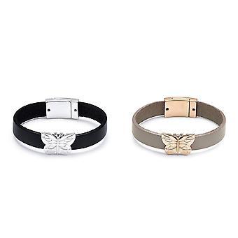 Intrigue femmes/dames en cuir papillon Charm Bracelet