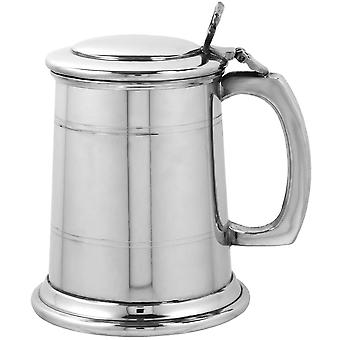 Straight 2 Line Pewter Tankard with Lid - 1/2 Pint