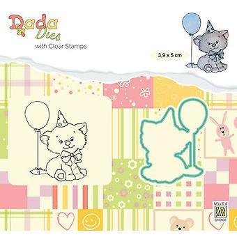 Nellie's Choice DADA Die & Clear stamp Birthday Kitten DDCS020 39x50mm (01-20)