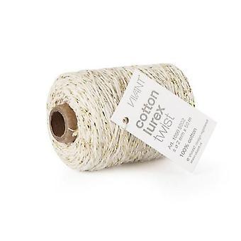 Vivant Cord Cotton Lurex Twist ivory / gold - 50 MT 2MM