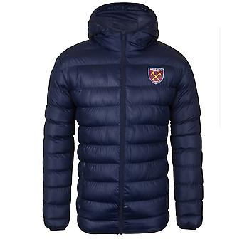 West Ham United Mens Jacket Hooded Winter Quilted OFFICIAL Football Gift