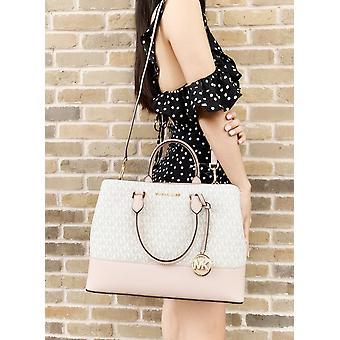 Michael kors savannah large satchel crossbody bag vanilla mk ballet pink