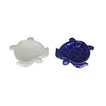 Set of 2 Dolomite Ceramic Sea Turtle Trinket Dishes Blue and White