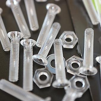 50x Crosshead Countersunk Acrylic, Nuts & Washers Bolts, M3 x 16mm
