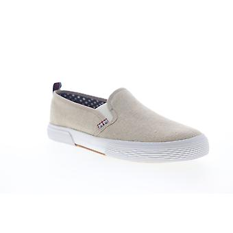 Ben Sherman Bristol Slip On  Mens Beige Tan Canvas Sneakers Shoes