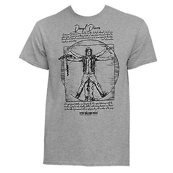 The Walking Dead - Daryl Vitruvian Man Men T-Shirt - Grey Melange