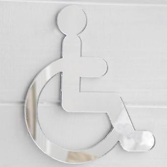 Sinal de porta de cadeira de rodas com deficiência em espelho acrílico
