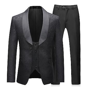 Allthemen Men ' s Tuxedo costum de 3 piese rochie de mireasă Slim Fit Blazer & vesta & pantaloni