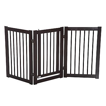 PawHut 155cm Expandable 3-Panel Freestanding Dog Pet Gate MDF Frame w/ Latched Door Security Gate Home Folding Deep Brown